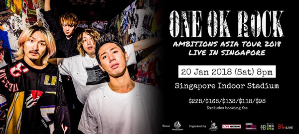 ONE OK ROCK TO PERFORM IN SINGAPORE INDOOR STADIUM IN 2018!